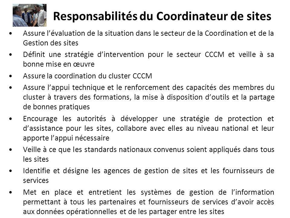 Responsabilités du Coordinateur de sites Assure lévaluation de la situation dans le secteur de la Coordination et de la Gestion des sites Définit une