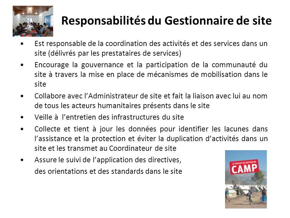 Responsabilités du Gestionnaire de site Est responsable de la coordination des activités et des services dans un site (délivrés par les prestataires d