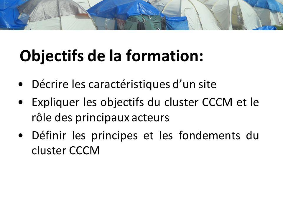 Objectifs de la formation: Décrire les caractéristiques dun site Expliquer les objectifs du cluster CCCM et le rôle des principaux acteurs Définir les