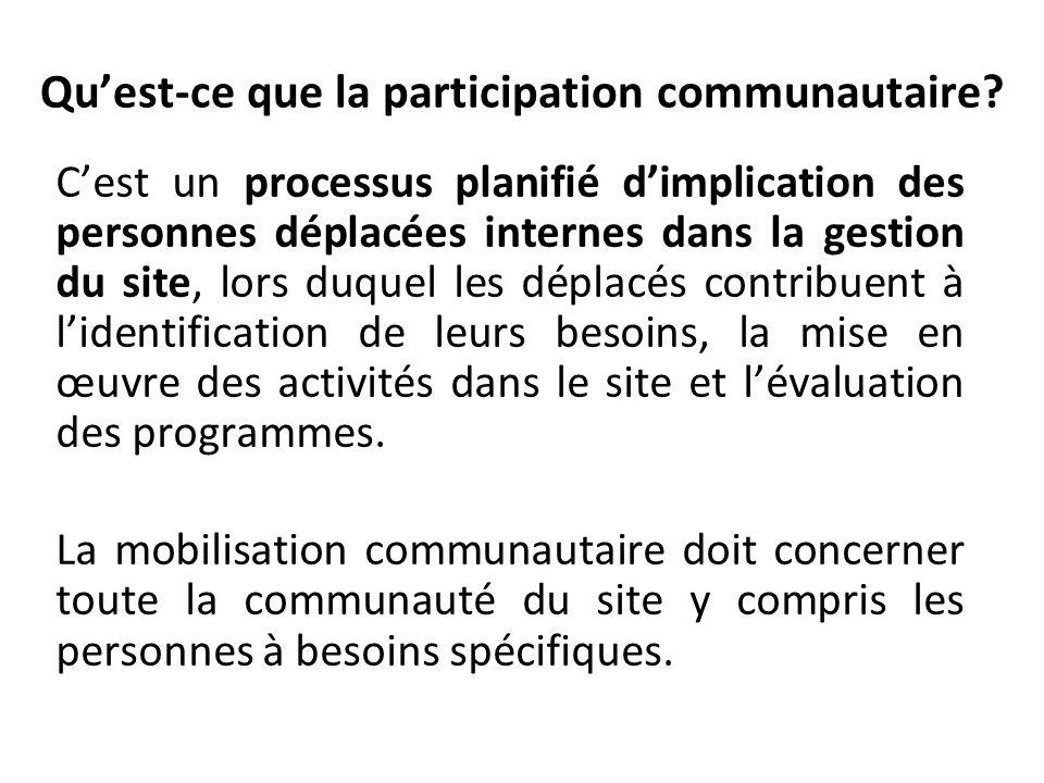 Quest-ce que la participation communautaire? Cest un processus planifié dimplication des personnes déplacées internes dans la gestion du site, lors du