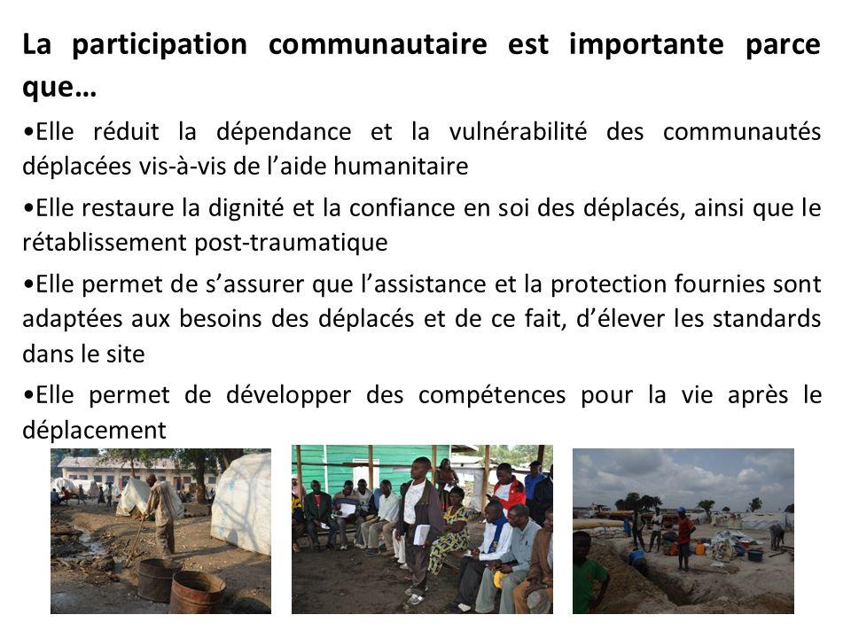 La participation communautaire est importante parce que… Elle réduit la dépendance et la vulnérabilité des communautés déplacées vis-à-vis de laide hu