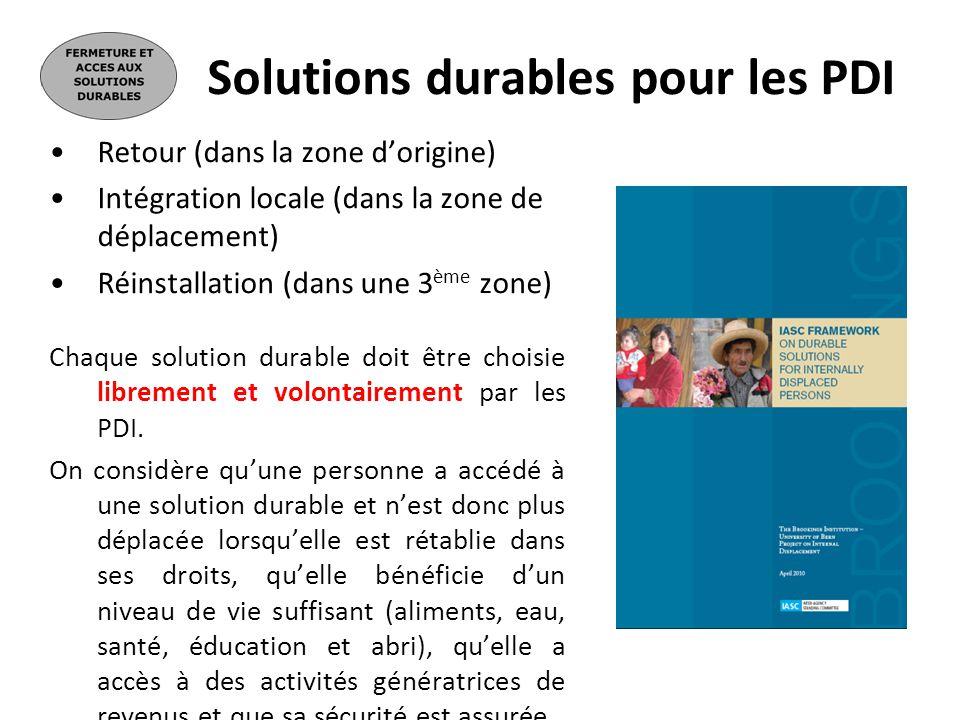 Solutions durables pour les PDI Retour (dans la zone dorigine) Intégration locale (dans la zone de déplacement) Réinstallation (dans une 3 ème zone) C