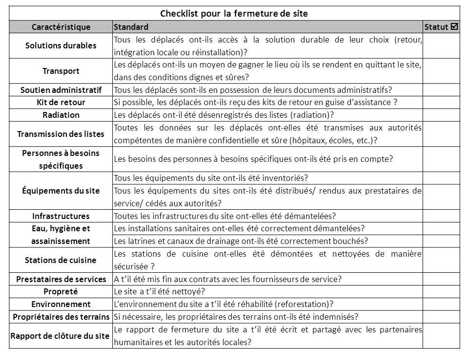 Checklist pour la fermeture de site CaractéristiqueStandard Statut Solutions durables Tous les déplacés ont-ils accès à la solution durable de leur ch