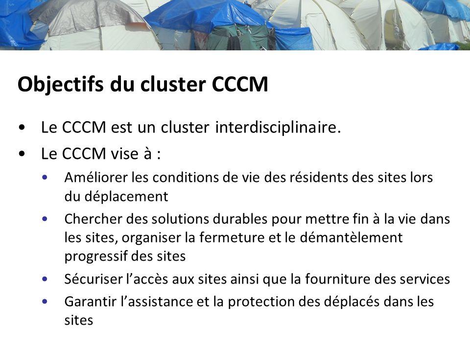 Objectifs du cluster CCCM Le CCCM est un cluster interdisciplinaire. Le CCCM vise à : Améliorer les conditions de vie des résidents des sites lors du