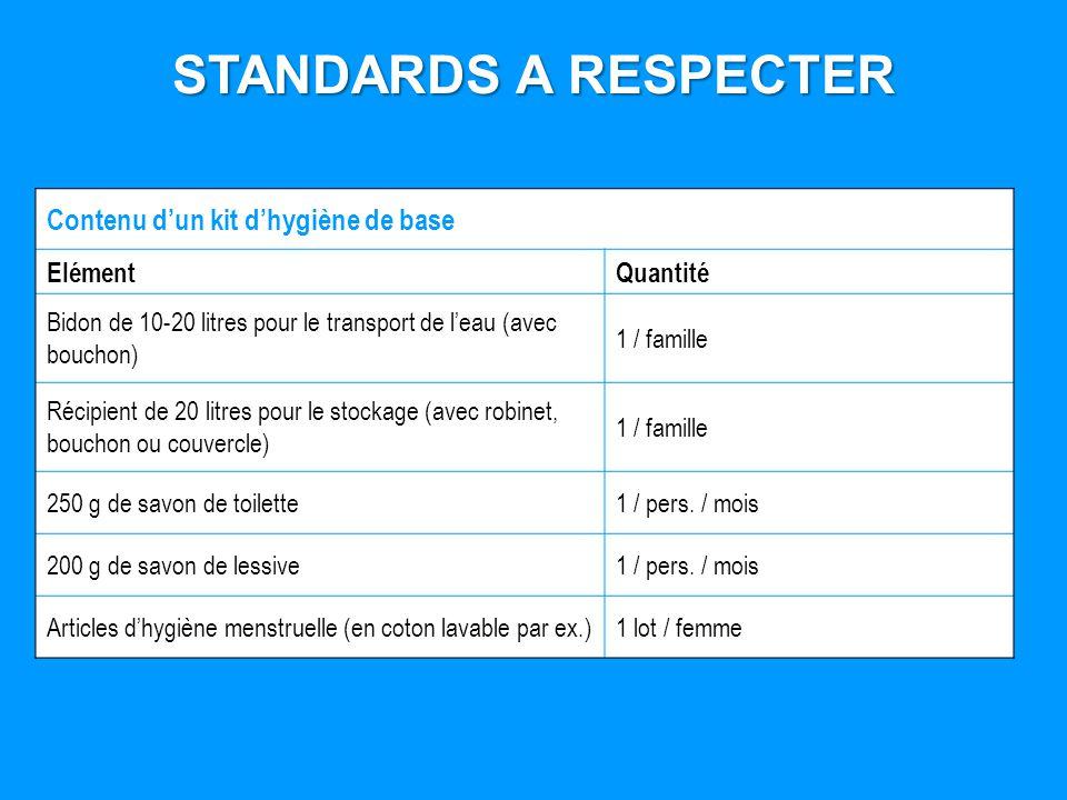 STANDARDS A RESPECTER Contenu dun kit dhygiène de base ElémentQuantité Bidon de 10-20 litres pour le transport de leau (avec bouchon) 1 / famille Réci