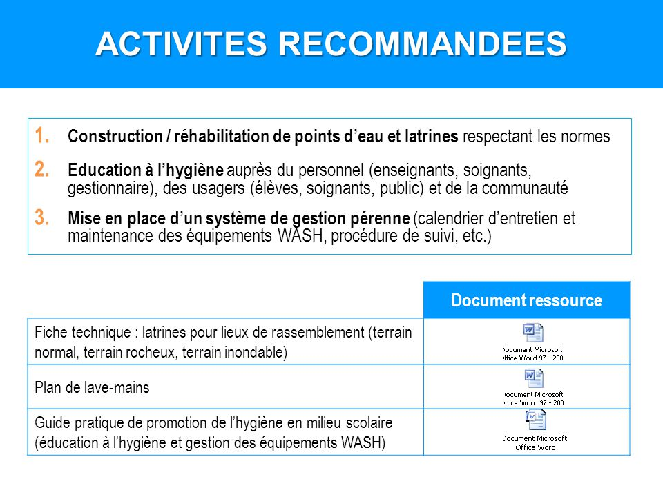 1. Construction / réhabilitation de points deau et latrines respectant les normes 2. Education à lhygiène auprès du personnel (enseignants, soignants,