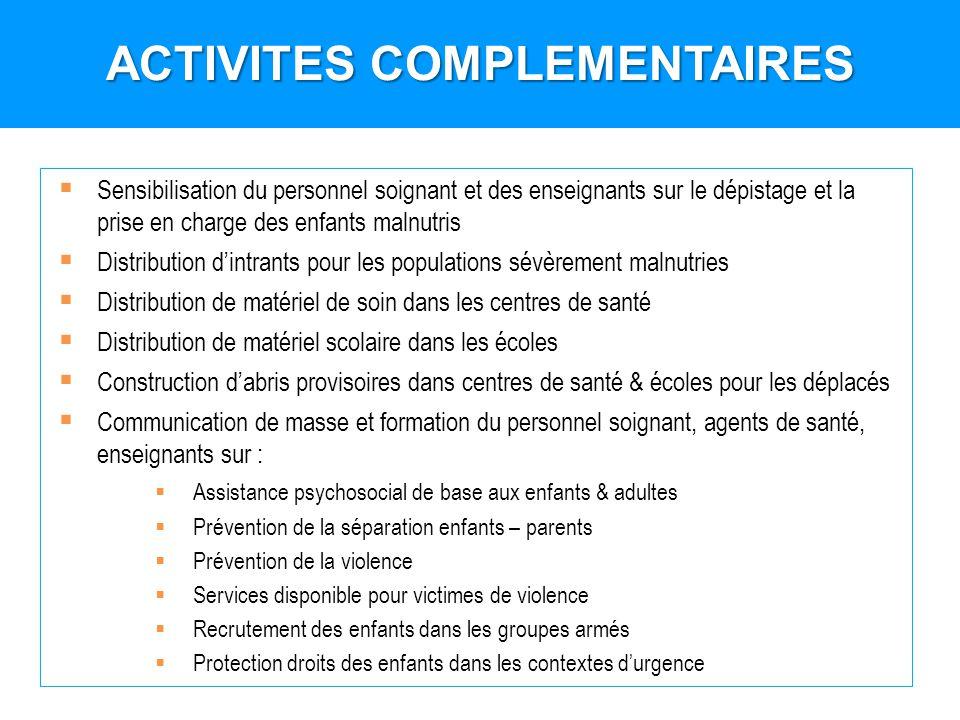 Sensibilisation du personnel soignant et des enseignants sur le dépistage et la prise en charge des enfants malnutris Distribution dintrants pour les