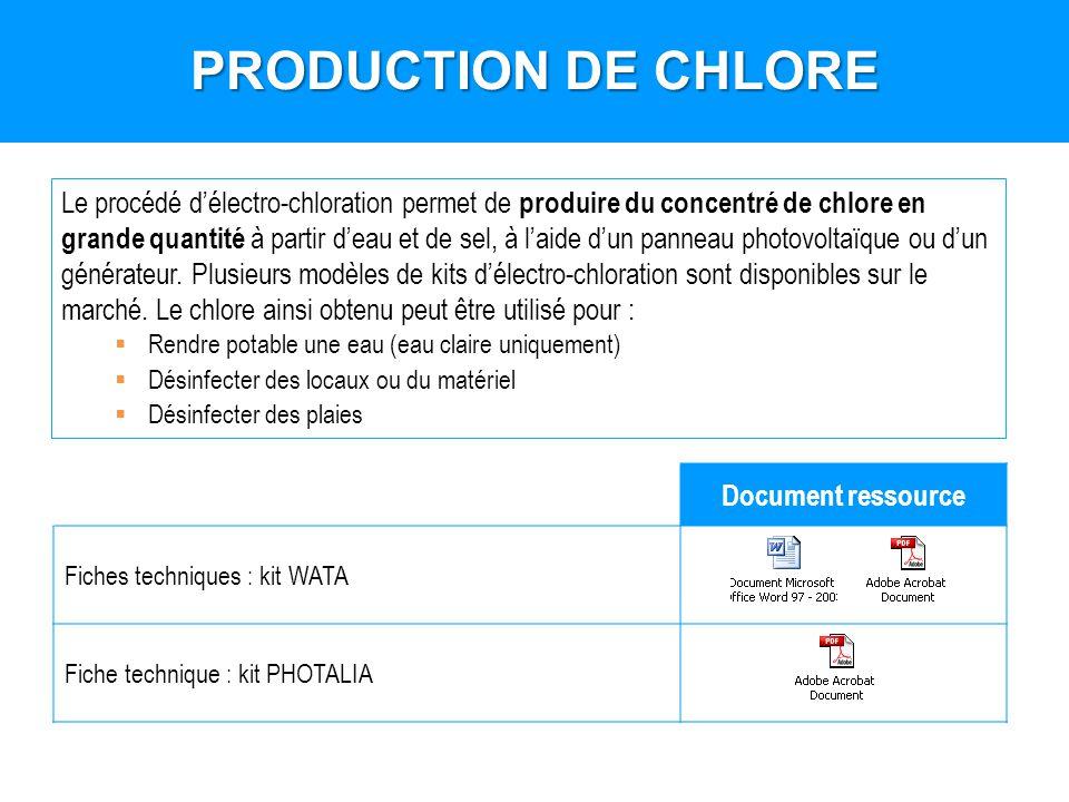 Le procédé délectro-chloration permet de produire du concentré de chlore en grande quantité à partir deau et de sel, à laide dun panneau photovoltaïqu