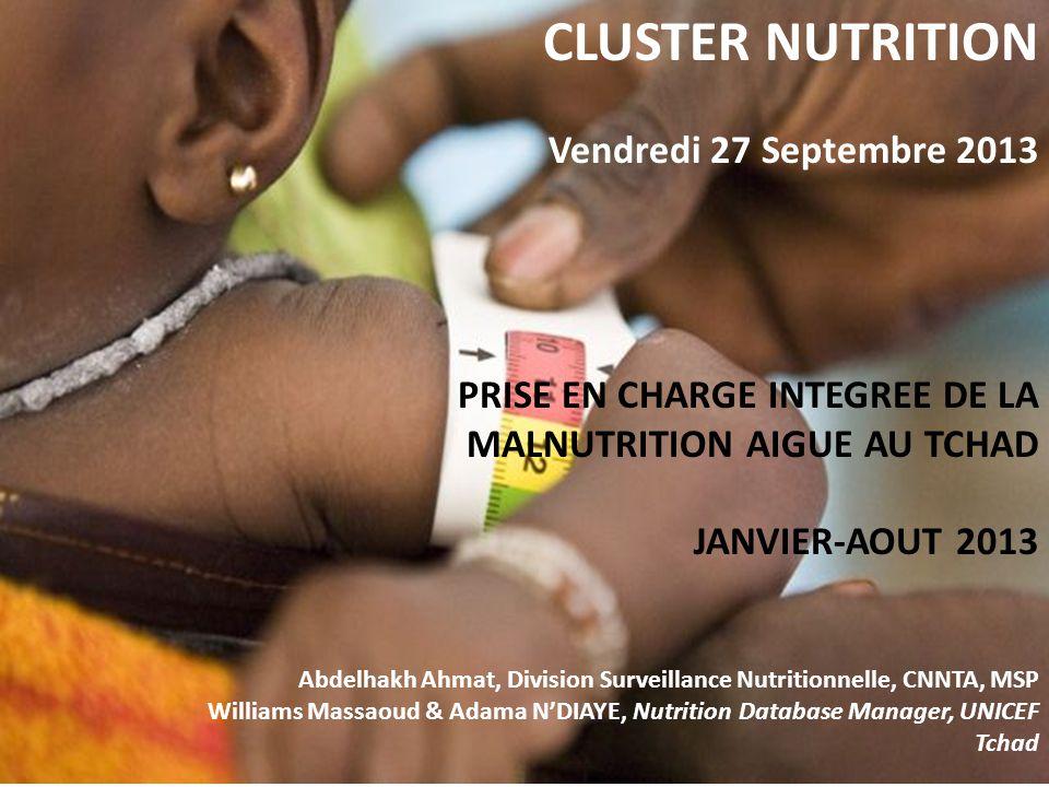 Surveillance Nutritionnelle Centres de Prise en charge de la Malnutrition Aigue Août 2013 Type Total Intégrés aux CS Centres de santé IDP/Ref.Mobiles CNS4013652016 CNA4694451113 CNT323200