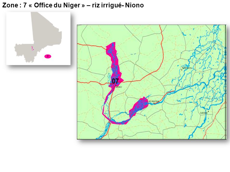 Zone : 7 « Office du Niger » – riz irrigué- Niono