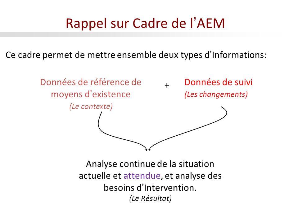 Rappel sur Cadre de lAEM Ce cadre permet de mettre ensemble deux types dInformations: Données de référence de moyens dexistence (Le contexte) Données