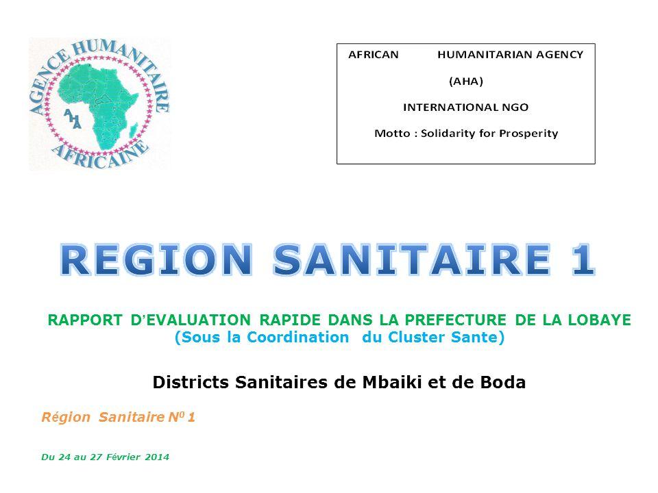 MSPPLS RAPPORT D EVALUATION RAPIDE DANS LA PREFECTURE DE LA LOBAYE (Sous la Coordination du Cluster Sante) Districts Sanitaires de Mbaiki et de Boda R