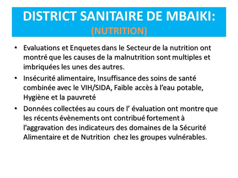Evaluations et Enquetes dans le Secteur de la nutrition ont montré que les causes de la malnutrition sont multiples et imbriquées les unes des autres.