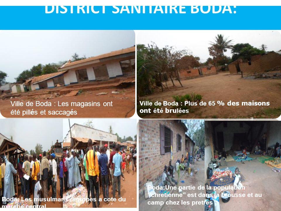 DISTRICT SANITAIRE BODA: Ville de Boda : Plus de 65 % des maisons ont é t é bru lées Ville de Boda : Les magasins ont été pillés et saccagés Boda: Les