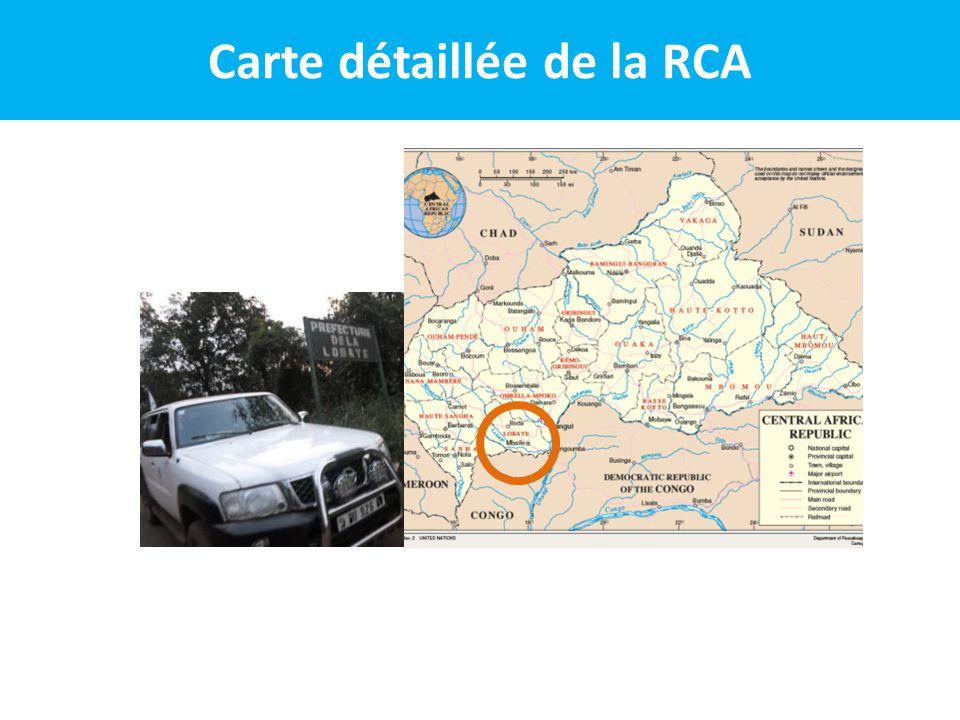 N° 1(RS1), Région Sanitaire N° 1 (RS1), Préfectures: Ombella Mpoko et Lobaye RS1 730.414 201452.540 2 13 2 RS1 730.414 habitants en 2014 (BCR), Superficie de 52.540 km 2 soit une densité de 13 habitants au km 2.
