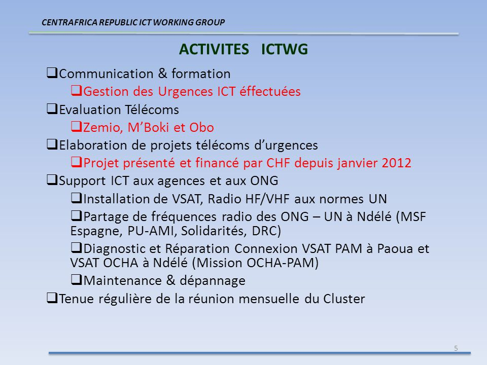 5 ACTIVITES ICTWG CENTRAFRICA REPUBLIC ICT WORKING GROUP Communication & formation Gestion des Urgences ICT éffectuées Evaluation Télécoms Zemio, MBok