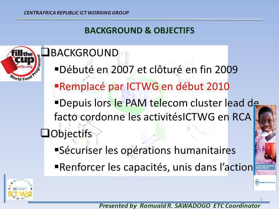 3 BACKGROUND & OBJECTIFS BACKGROUND Débuté en 2007 et clôturé en fin 2009 Remplacé par ICTWG en début 2010 Depuis lors le PAM telecom cluster lead de facto cordonne les activitésICTWG en RCA Objectifs Sécuriser les opérations humanitaires Renforcer les capacités, unis dans laction CENTRAFRICA REPUBLIC ICT WORKING GROUP Presented by Romuald R.