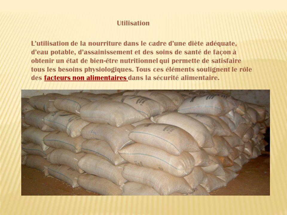 Lutilisation de la nourriture dans le cadre dune diète adéquate, deau potable, dassainissement et des soins de santé de façon à obtenir un état de bien-être nutritionnel qui permette de satisfaire tous les besoins physiologiques.