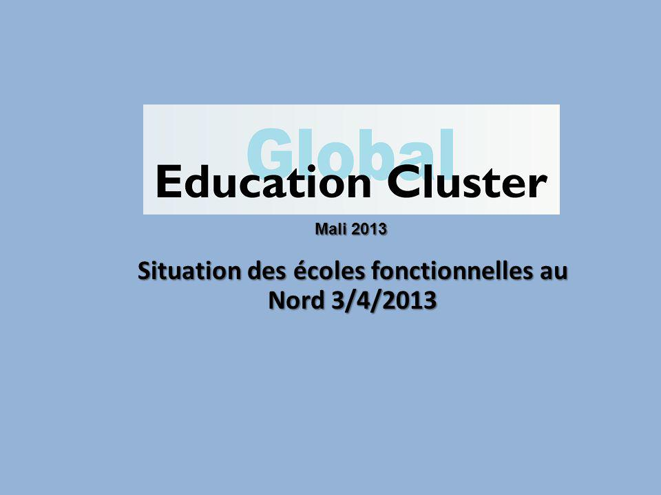 Situation des écoles fonctionnelles au Nord 3/4/2013 Mali 2013