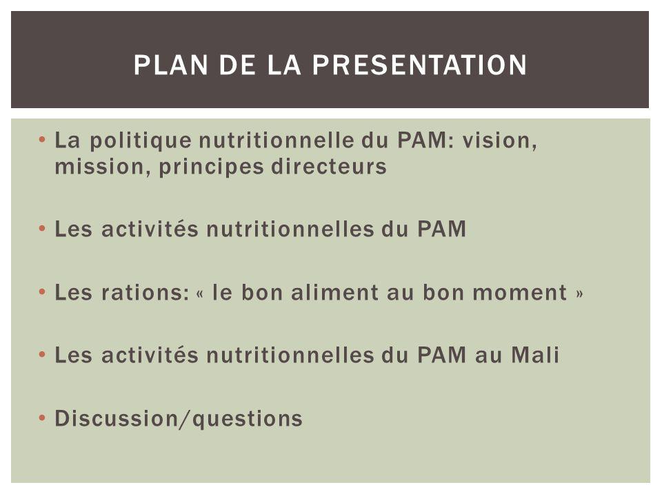 La politique nutritionnelle du PAM: vision, mission, principes directeurs Les activités nutritionnelles du PAM Les rations: « le bon aliment au bon mo
