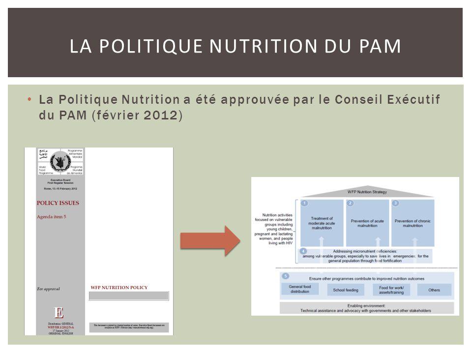 LA POLITIQUE NUTRITION DU PAM La Politique Nutrition a été approuvée par le Conseil Exécutif du PAM (février 2012)