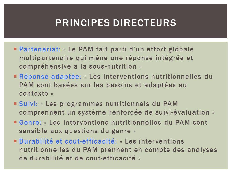 Partenariat: « Le PAM fait parti dun effort globale multipartenaire qui mène une réponse intégrée et compréhensive a la sous-nutrition » Réponse adapt