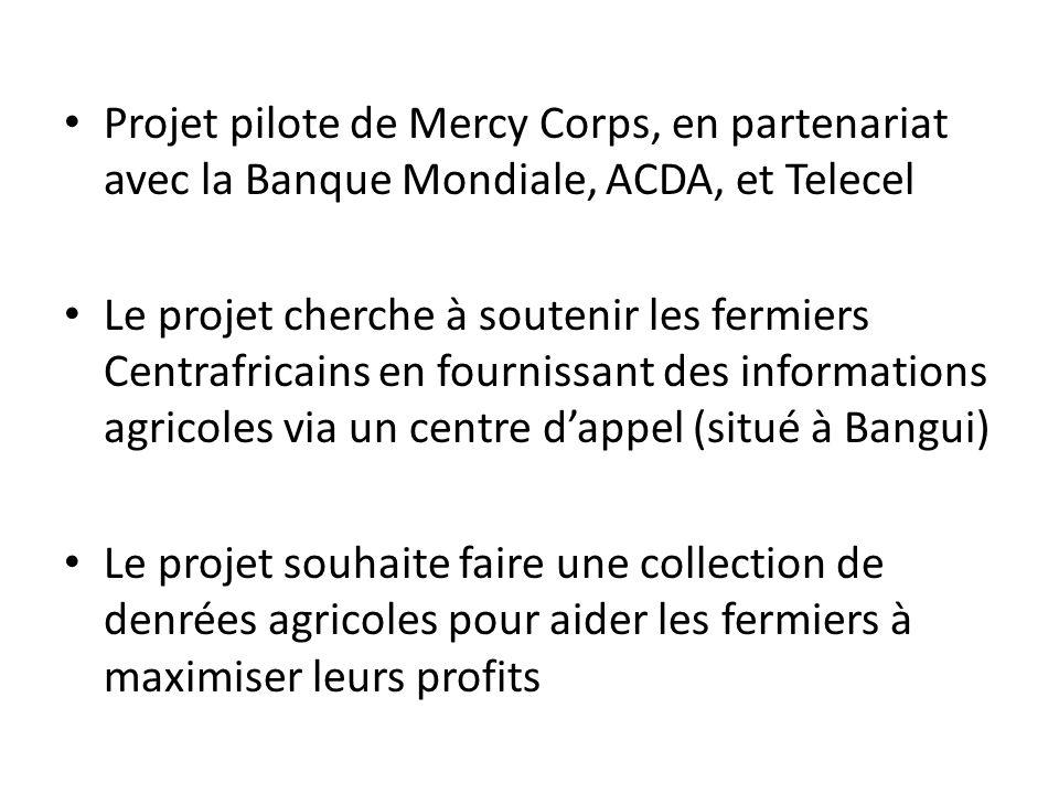 Projet pilote de Mercy Corps, en partenariat avec la Banque Mondiale, ACDA, et Telecel Le projet cherche à soutenir les fermiers Centrafricains en fournissant des informations agricoles via un centre dappel (situé à Bangui) Le projet souhaite faire une collection de denrées agricoles pour aider les fermiers à maximiser leurs profits