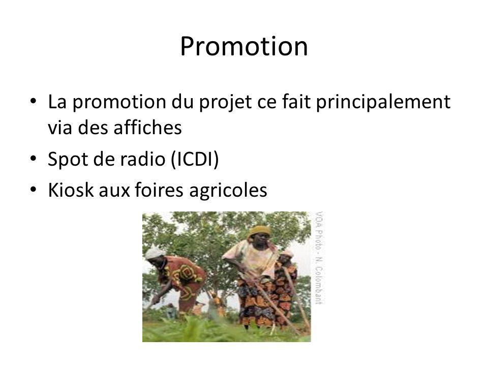 Promotion La promotion du projet ce fait principalement via des affiches Spot de radio (ICDI) Kiosk aux foires agricoles