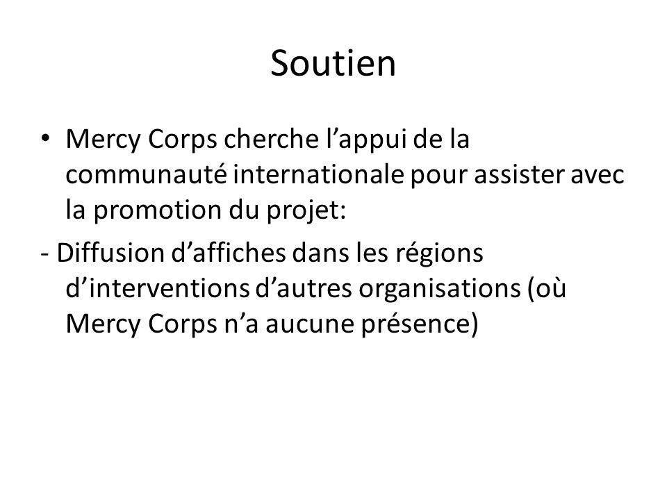 Soutien Mercy Corps cherche lappui de la communauté internationale pour assister avec la promotion du projet: - Diffusion daffiches dans les régions dinterventions dautres organisations (où Mercy Corps na aucune présence)