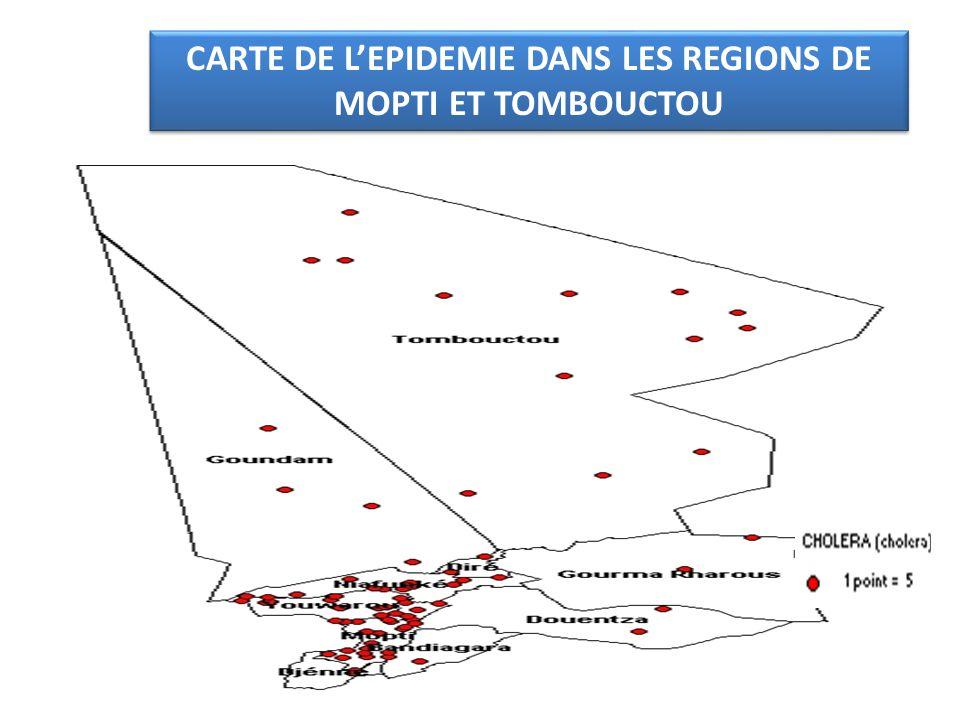 CARTE DE LEPIDEMIE DANS LES REGIONS DE MOPTI ET TOMBOUCTOU