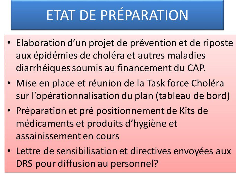 ETAT DE PRÉPARATION Elaboration dun projet de prévention et de riposte aux épidémies de choléra et autres maladies diarrhéiques soumis au financement