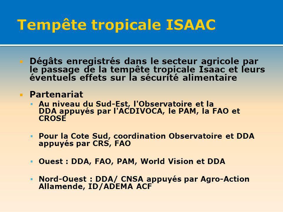 Dégâts enregistrés dans le secteur agricole par le passage de la tempête tropicale Isaac et leurs éventuels effets sur la sécurité alimentaire Partenariat Au niveau du Sud-Est, l Observatoire et la DDA appuyés par l ACDIVOCA, le PAM, la FAO et CROSE Pour la Cote Sud, coordination Observatoire et DDA appuyés par CRS, FAO Ouest : DDA, FAO, PAM, World Vision et DDA Nord-Ouest : DDA/ CNSA appuyés par Agro-Action Allamende, ID/ADEMA ACF