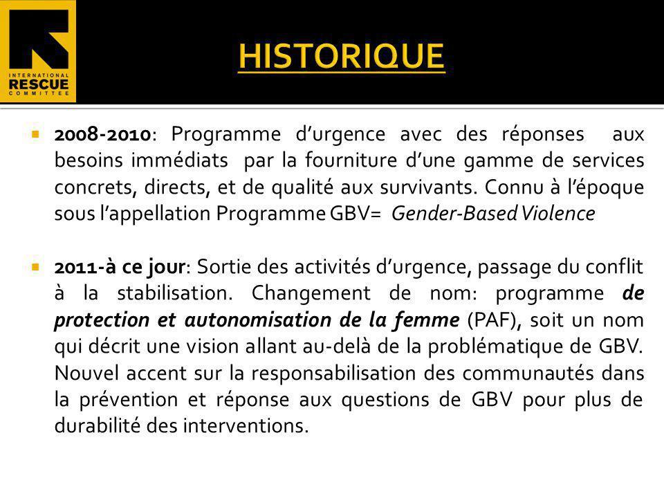 Objectif global: Reduire la vulnérabilité des femmes et filles et minimiser limpact des Violences Basées sur le Genre en RCA.
