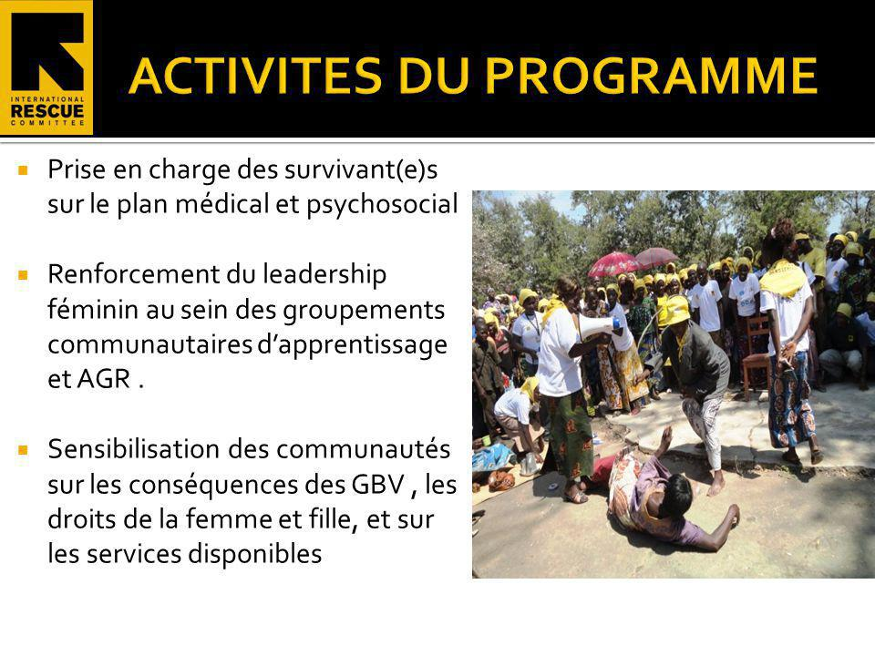 Prise en charge des survivant(e)s sur le plan médical et psychosocial Renforcement du leadership féminin au sein des groupements communautaires dappre