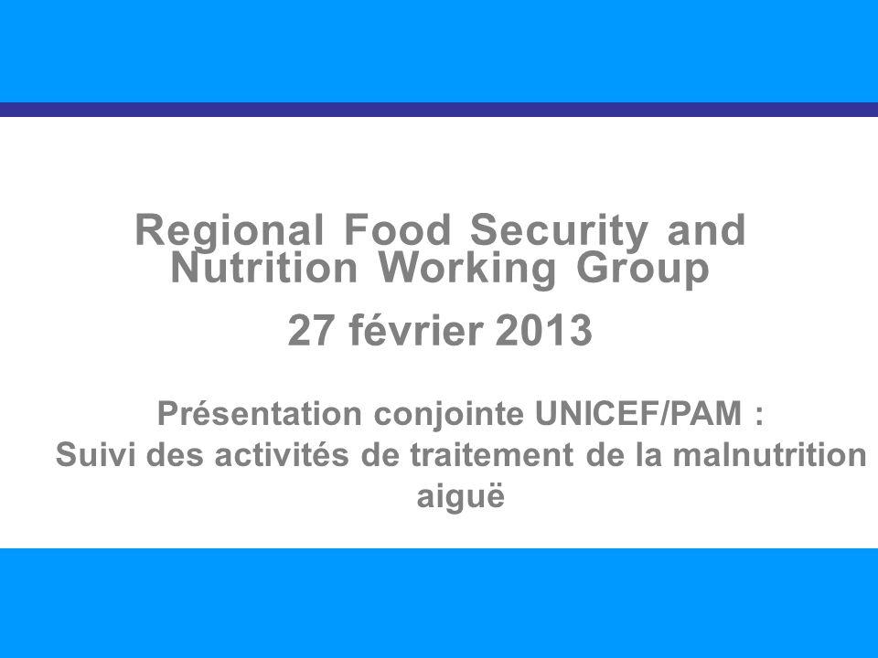 SITUATION NUTRITIONNELLE DANS LA RÉGION 1 Regional Food Security and Nutrition Working Group 27 février 2013 Présentation conjointe UNICEF/PAM : Suivi