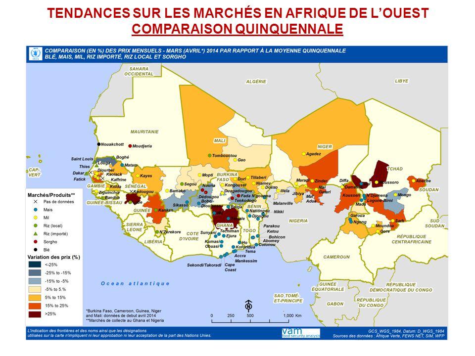 TENDANCES SUR LES MARCHÉS EN AFRIQUE DE LOUEST COMPARAISON QUINQUENNALE