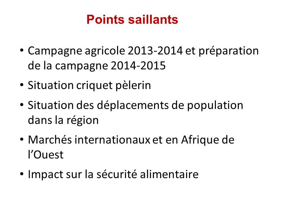 Points saillants Campagne agricole 2013-2014 et préparation de la campagne 2014-2015 Situation criquet pèlerin Situation des déplacements de population dans la région Marchés internationaux et en Afrique de lOuest Impact sur la sécurité alimentaire