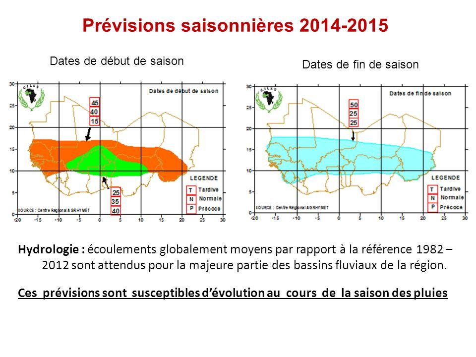 Prévisions saisonnières 2014-2015 Dates de début de saison Dates de fin de saison Hydrologie : écoulements globalement moyens par rapport à la référence 1982 – 2012 sont attendus pour la majeure partie des bassins fluviaux de la région.
