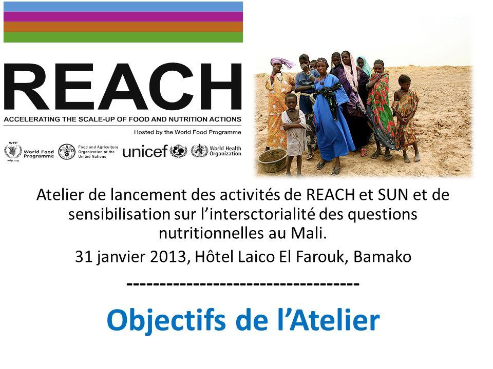 Objectif général Lancer officiellement les activités de RECAH et SUN au Mali et sensibiliser les parties prenantes de la nutrition sur limportance de lintersectorilité des questions nutritionnelles