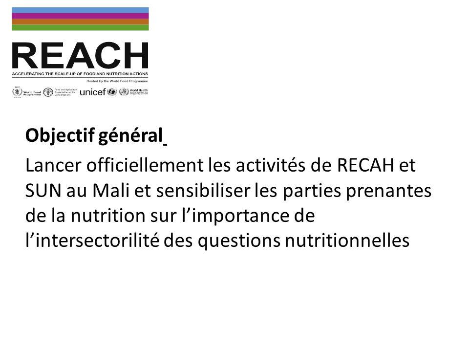 Objectifs spécifiques Informer toutes les parties prenantes de la nutrition au Mali sur les rôles de REACH et SUN, ainsi que les interactions entre ces deux initiatives Montrer comment SUN et REACH peuvent contribuer à une meilleure coordination et harmonisation des interventions nutritionnelles Ressortir les attentes des parties prenantes de la nutrition au Mali vis-à-vis des deux initiatives et vice-versa Rappeler les principales orientations de la Politique Nationale de Nutrition récemment adoptée, les organes de coordination, les étapes de sa mise en œuvre ainsi que les conditions de succès de cette mise en œuvre Sensibiliser toutes les parties prenantes de la nutrition au Mali sur limportance de lintersectorialité des questions nutritionnelles.