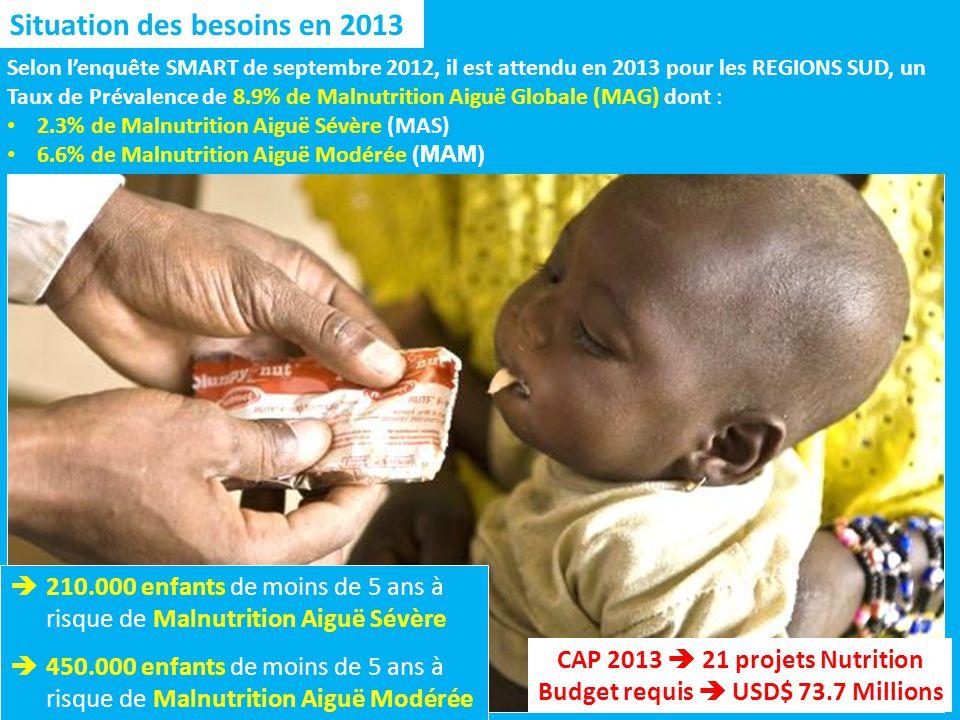 Situation des besoins en 2013 210.000 enfants de moins de 5 ans à risque de Malnutrition Aiguë Sévère 450.000 enfants de moins de 5 ans à risque de Malnutrition Aiguë Modérée Selon lenquête SMART de septembre 2012, il est attendu en 2013 pour les REGIONS SUD, un Taux de Prévalence de 8.9% de Malnutrition Aiguë Globale (MAG) dont : 2.3% de Malnutrition Aiguë Sévère (MAS) 6.6% de Malnutrition Aiguë Modérée (MAM) CAP 2013 21 projets Nutrition Budget requis USD$ 73.7 Millions