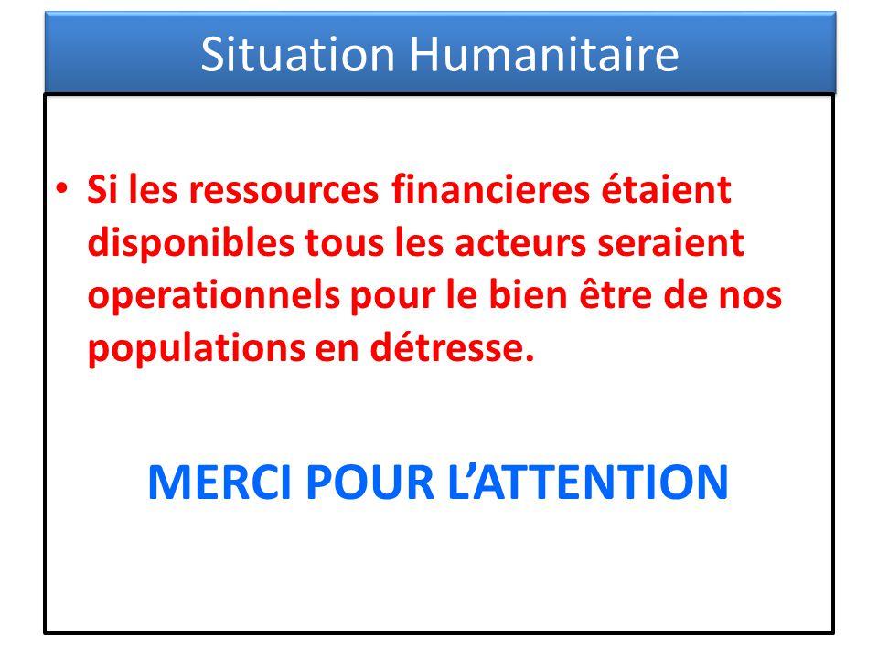 Situation Humanitaire Si les ressources financieres étaient disponibles tous les acteurs seraient operationnels pour le bien être de nos populations e