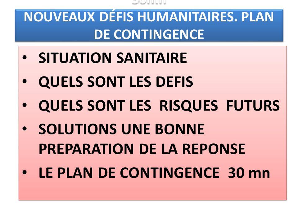 30mn NOUVEAUX DÉFIS HUMANITAIRES. PLAN DE CONTINGENCE (TASK FORCE) SITUATION SANITAIRE QUELS SONT LES DEFIS QUELS SONT LES RISQUES FUTURS SOLUTIONS UN