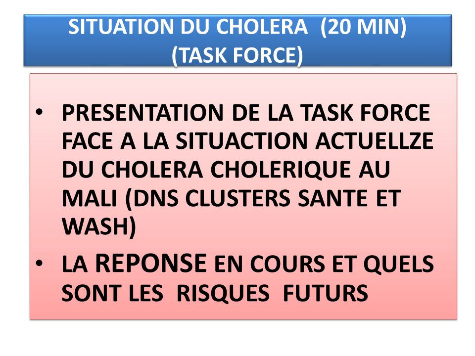 SITUATION DU CHOLERA (20 MIN) (TASK FORCE) PRESENTATION DE LA TASK FORCE FACE A LA SITUACTION ACTUELLZE DU CHOLERA CHOLERIQUE AU MALI (DNS CLUSTERS SA
