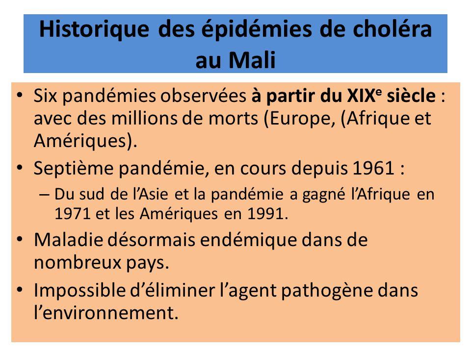 Historique des épidémies de choléra au Mali Six pandémies observées à partir du XIX e siècle : avec des millions de morts (Europe, (Afrique et Amériqu