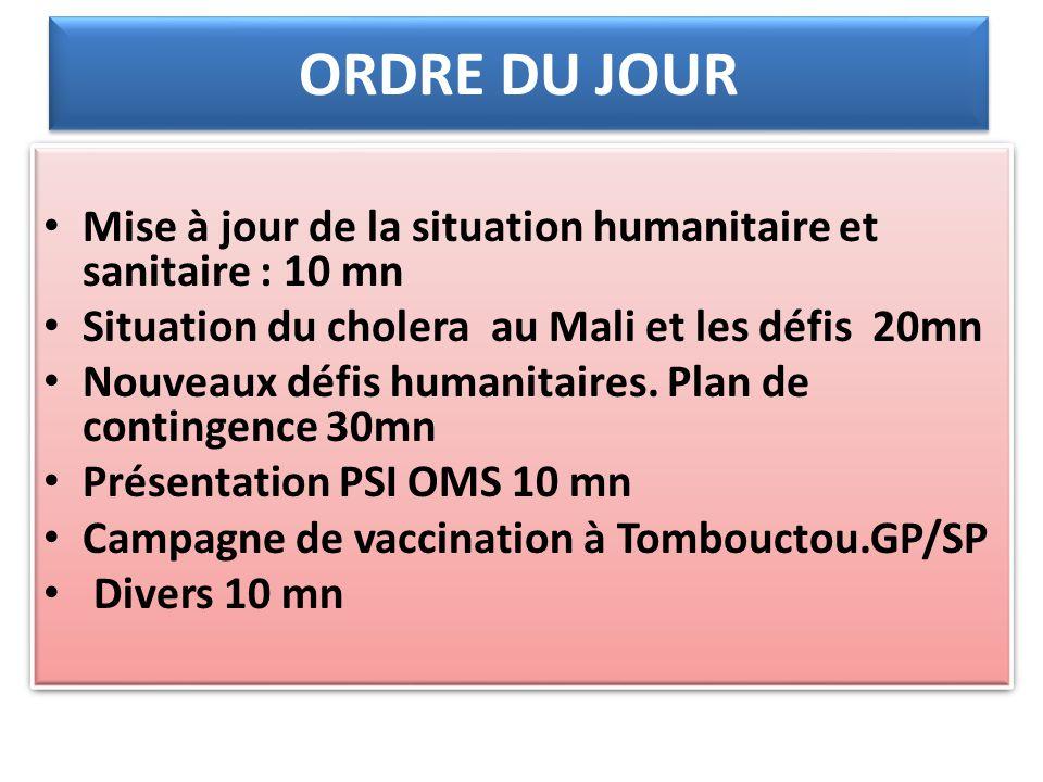 ORDRE DU JOUR Mise à jour de la situation humanitaire et sanitaire : 10 mn Situation du cholera au Mali et les défis 20mn Nouveaux défis humanitaires.