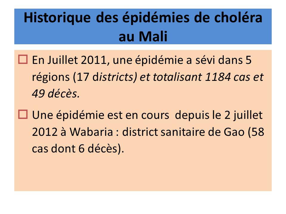 Historique des épidémies de choléra au Mali En Juillet 2011, une épidémie a sévi dans 5 régions (17 districts) et totalisant 1184 cas et 49 décès. Une