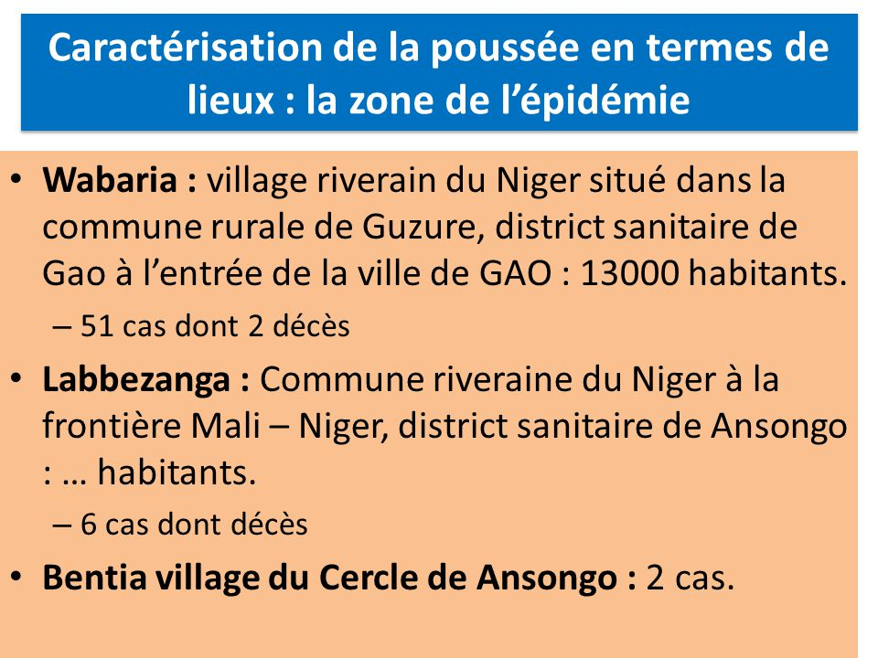 Wabaria : village riverain du Niger situé dans la commune rurale de Guzure, district sanitaire de Gao à lentrée de la ville de GAO : 13000 habitants.