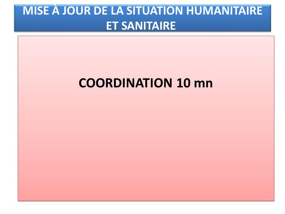 MISE À JOUR DE LA SITUATION HUMANITAIRE ET SANITAIRE COORDINATION 10 mn