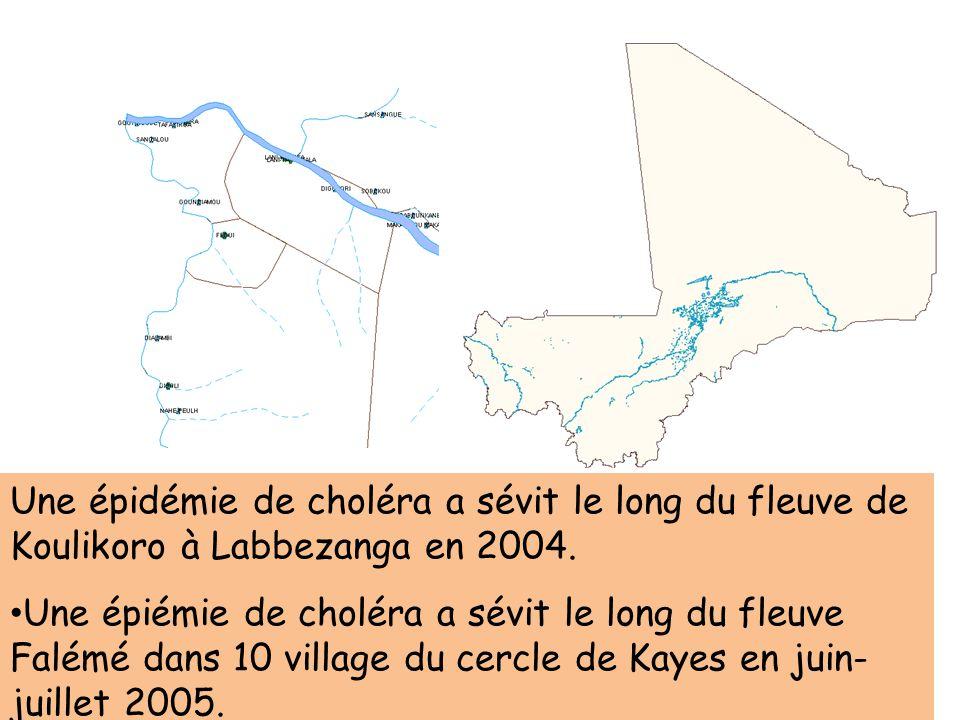 Une épidémie de choléra a sévit le long du fleuve de Koulikoro à Labbezanga en 2004. Une épiémie de choléra a sévit le long du fleuve Falémé dans 10 v